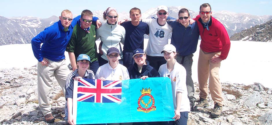 Cadets on mountain summit.